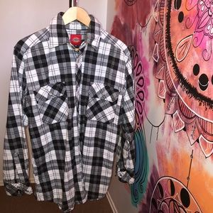 Dickies Flannel Plaid Thick Snap Button Up Shacket